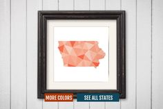 Iowa State Map Print - Personalized Geometric Wall Art IA Colorful Abstract Poster, Minimal, Unique and Customized Triangle Decor