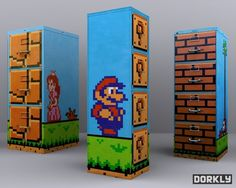 File Cabinets/Drawers with a Mario-themed Paint Treatment