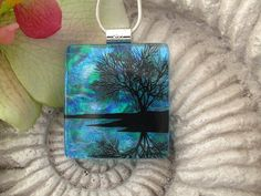 Tree Necklace  Dichroic Glass Jewelry    Reflection by ccvalenzo, $28.00