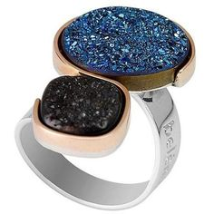 A black and blue Druzy statement/cocktail ring in both 9kt gold and silver Druzy Ring, Druzy Jewelry, Jewellery, Stone Jewelry, Christmas Gifts For Women, Black Jewelry, Cocktail Rings, Statement Rings, Ring Designs