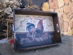 """Купить Большой дубовый поднос """"Cafe Francais"""" - коричневый, поднос, поднос для кухни, поднос для завтрака"""
