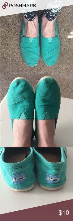 Turquoise Toms size 8 Striking Turquoise color really pops  Good condition, well worn and minor staining/markings reflected in price.  Size 8, runs true to size Toms Shoes Flats & Loafers