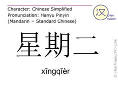 xingqier en caractères simplifiés ( 星期二 ) avec prononciation en chinois mandarin