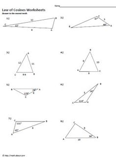 Law of Cosines Worksheets and Printables: Law of Cosine Worksheet ...