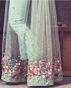 Fashion dresses - Mint green and sheer detailing by weddings detail fashion bride indianbride sheer indianwedding indianwear… Indian Gowns Dresses, Pakistani Dresses, Ivory Prom Dresses, Indian Wedding Outfits, Indian Outfits, Indian Designer Outfits, Designer Dresses, Stylish Dresses, Fashion Dresses