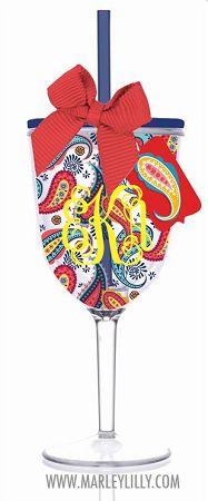 Monogrammed 13oz Fiesta Paisley Double Wall Acrylic Wine Cup