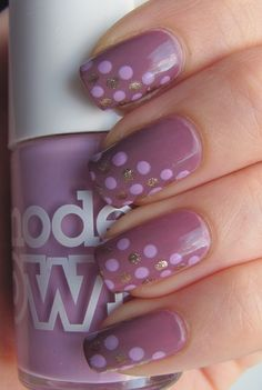 gold and lavender polka dots over mauve