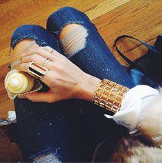 Jennifer Fisher Jewelry brass grate cuff and brass narrow hollow rectangle ring