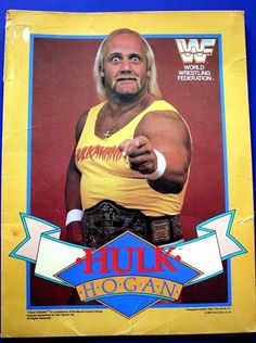 Yellow and Colorful Double Sided Hulk Hogan Wrestler Photos on Pocket Folder. A MUST have for any 80's Wrestling Fan and makes a great gift. Shows signs of wear and age but a true Collectors Item! Wear and Tear as shown in photos.   eBay!