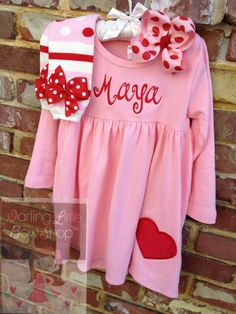 Items similar to Valentine Outfit — My Sweet Valentine — long sleeve pink dress dress with name and heart in red, leg warmers and hairbow on Etsy – Holiday Matching Sister Outfits, Cute Outfits For Kids, Toddler Outfits, Girl Outfits, Baby Girl Valentine Outfit, Valentines Outfits, Holiday Outfits, Pink Long Sleeve Dress, Pink Dress