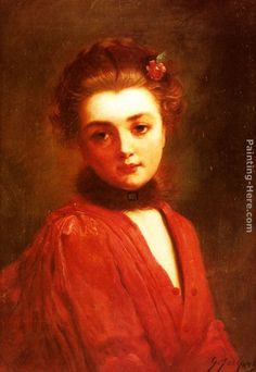 Gustave Jean Jacquet Portrait of a Girl in a Red Dress Painting   Best Paintings For Sale