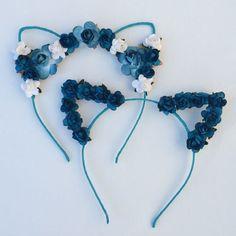 Flower cat ear headband, festival wear, ariana grande concert attire, music festival, cat ears, ultra, edc,