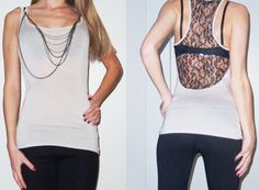 Sexy Chain Tank top with Lace Back