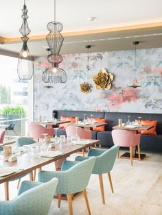 Hotel Zafiro Palace Palmanova - Innenarchitektur v Restaurant Interior Design, Design Hotel, Shop Interior Design, Interior Decorating, Interior Colors, Café Design, Home Design, Cafe Restaurant, Cafe Bar