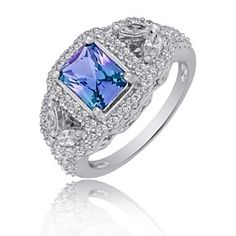 3.70 Ct Alexandrite & Diamond Simulants 14K White Gold Over Halo Ring by JewelryHub on Opensky