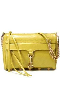 Rebecca Minkoff Mac Yellow Clutch Bag With Gold Hardware   #rebeccaminkoffbag