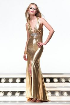 Gold Long/Floor-length Sweep/Brush Train Backless Prom Dress PD141A