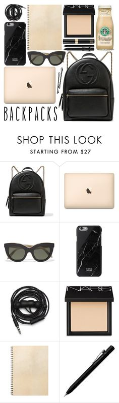 """Backpack / 152"" by dddawn ❤ liked on Polyvore featuring Gucci, Victoria Beckham, Native Union, Urbanears, NARS Cosmetics, BOBBY, Faber-Castell and Tom Ford"