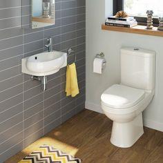 Sabrosa Toilet & Naro Basin Cloakroom Set - Left Hand [PT-BS913] - £199.99 : Platinum Taps & Bathrooms