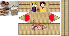 MOlde de Cesta 3d Paper, Paper Crafts, Snow White Birthday, Prince Party, Packing Boxes, Print And Cut, Doll Toys, Paper Dolls, Party Favors