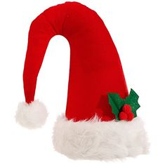 Raz Imports Red Santa Claus Hat with Holly Decor or Christmas Tree Topper  145 -- aa495ba24