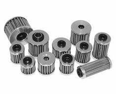 Several hydraulic oil filters made of stainless steel mesh.