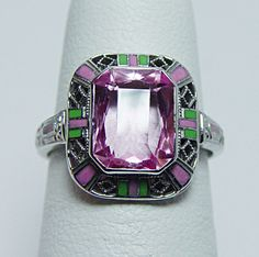Art Deco Antique Pink Stone Enamel Filigree Ring 14K White Gold Estate Jewelry. @designerwallace
