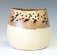 Carved Oval Vase Handmade Stoneware Pottery Vase by InsCeramics