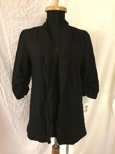 New Bar III Three Macy's Black 80s Crop Sleeve Blazer jacket Small - Made In USA #BarIII #Blazer
