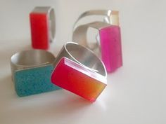 Cute and colourful resin and silver rings from Croatian jeweller Ivana Vucinovic