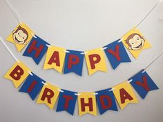 Your place to buy and sell all things handmade Mario Birthday Party, 1st Birthday Banners, 2nd Birthday Parties, 4th Birthday, Birthday Celebration, Birthday Ideas, Curious George Crafts, Curious George Party, Curious George Birthday