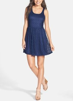 A cute blue skater dress for the 4th of July.