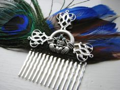 Celtic Claddagh Fascinator Blue Brown White and by SomewearInTyme, $36.00