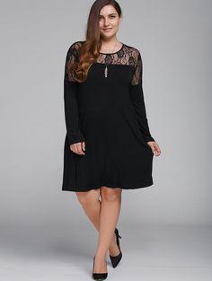 Plus Size Lace Patchwork Long Sleeve Dress in Black | Sammydress.com