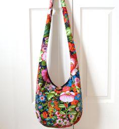 Hobo Bag Sling Bag Floral Colorful Pink Orange Blue by 2LeftHandz, $34.00