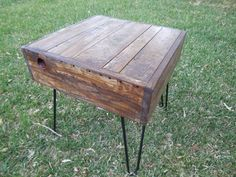 Barn Wood End Table, Custom Side table, Night Table, Hairpin legs, Rustic End table with hairpin legs, Industrial end table,Reclaimed lumber on Etsy, $249.99