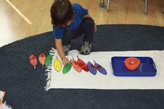 Counting with objects.
