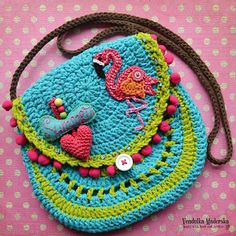 Crochet pattern  Flamingo crochet purse by VendulkaM