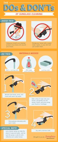 How to Clean Sunglasses: don't breathe on them and wipe with your shirt! How To Clean Sunglasses, Uv Sunglasses, Sunnies, Sunglass Warehouse, Optometry Office, Eye Facts, Healthy Eyes, Education Architecture, Optician