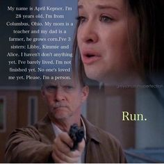 Didn't like April much until this moment. Then I was terrified for her and realised how much I would miss her if something happened.