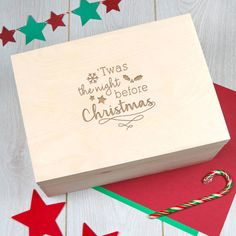 Large Engraved Wooden Christmas Eve Box - Twas the night before christmas - Xmas Eve Crate Christmas Eve Box For Kids, Wooden Christmas Eve Box, Merry Christmas 2016, The Night Before Christmas, Christmas Crafts, Christmas Ideas, Christmas Snowflakes, Christmas Time, Christmas Boxes