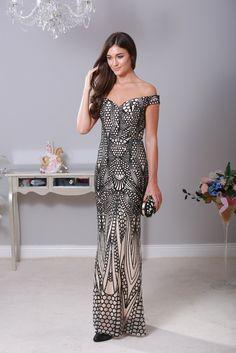 Mamie Embellished Black Maxi Dress