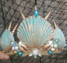 "Mermaid crown , Turquoise and gold seashell "" Arlos"" mermaid costume - Kopfschmuck - Mermaid Crafts, Seashell Crafts, Mermaid Crowns Diy, Mermaid Headpiece, Beach Crafts, Seashell Crown, Shell Crowns, Mermaid Parties, Diy Hair Accessories"