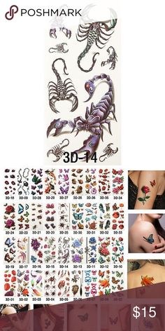 Temporary 3D Tattoo 100% Brand New Size: app 190*90MM Technology: Hot-stamping gold,silver, black, colorful tattoos; 1. Cut out tattoo of choice. 2. Remove clear, protective top sheet. 3. Press tattoo firmly onto clean, dry skin with design face down. 4. Wet tattoo thoroughly using wet sponge or cloth. 5. Peel off paper backing after 30 seconds. Pat dry. 6. Tattoos can be removed by washing with soap and water. To remove tattoos more easily, you can use a drop of body oil.   Package List: 1…