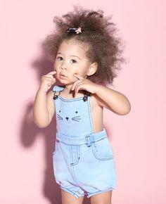 Baby Girl's Knit Denim Playsuit - Bardot Junior