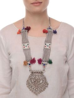 Multicolored Tribal Silver Necklace with Floral Motif