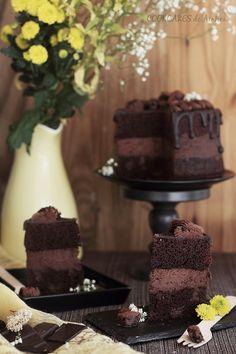 Tarta de Chocolate y Cheesecake - Cookcakes de Ainhoa