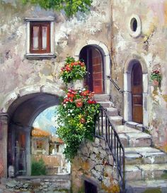 Pictures To Paint, Art Pictures, Beautiful Paintings, Love Art, Painting Inspiration, Portrait Inspiration, Painting & Drawing, Landscape Paintings, Watercolor Paintings
