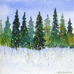 How to paint a watercolor forest with very little drawing and add splattered acrylic paint to create a beautiful winter snow scene.