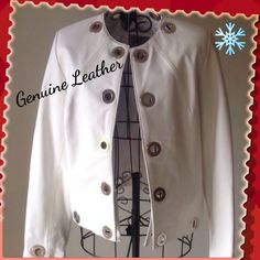 GenuineLeather Coat Winter White Bought in Buenos Aires, Argentina. The brand is Emporio Cueros. Excellent condition and very well made. 100% cow leather shell with metal hardware. Has inside tie to close the coat. Non-smoking home. The inner liner has a couple of small spots as shown in the 4th photo. The color is winter white. Emporio Cueros Jackets & Coats